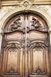 Close up view of traditional old door. In Paris Stock Image
