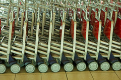 Close up view of trolleys luggage Royalty Free Stock Photography