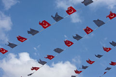 Close-up view of Turkish and EU bunting against clear sky Stock Photography