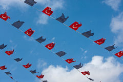 Close-up view of Turkish and EU bunting against clear sky Royalty Free Stock Photo