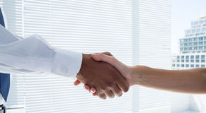 Close up view of two business people shaking hands Stock Photo