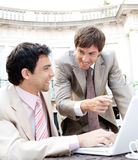 Business men meeting in cafe. Royalty Free Stock Photo