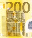 Close up view from two hundred euros bill. royalty free stock photography