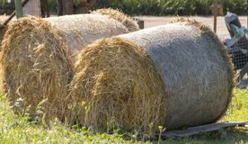 Two Rolled Haystack royalty free stock images