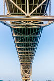 Close up View of the Underside of a Coastal Bowstring Bridge with Clear Skies in Corpus Christi Royalty Free Stock Photo