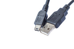 Close up view of USB and mini USB connector Royalty Free Stock Image