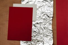 Close-up view of various detailed paper, foil and cardboard textures stock photography