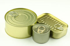 Close-up view of various tins and cans. On white background stock photos