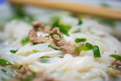 Close-up view of Vietnamese noodle soup named Pho. Pho is the most famous food in Vietnam royalty free stock photography