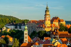 Close-up view View of the Castle and Old Center in Cesky Krumlov royalty free stock images