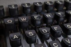 Close-up view on vintage black typewriter keyboard Royalty Free Stock Photography
