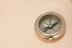 Close-up view of vintage brass compass Stock Photography