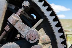 Close-up view of vintage industrial rusted gears stock photo