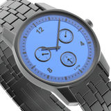 Close-up view of watch. Close-up view of blue-black watch, 3d rendered image Royalty Free Stock Images