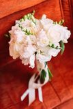 Close-up view of the wedding bouquet of white roses. Close-up view of the wedding bouquet of white roses Royalty Free Stock Images