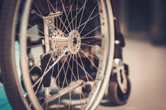 Close-up view of a wheelchair Royalty Free Stock Photos