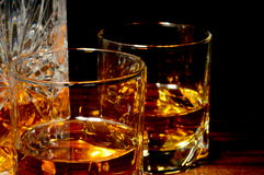Close-up view of whiskey on a table stock photo