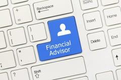 White conceptual keyboard - Financial Advisor blue key royalty free stock photos