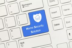 White conceptual keyboard - Home Security Solution blue key royalty free stock image