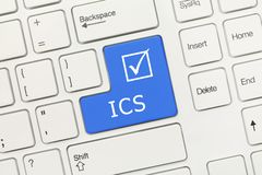 White conceptual keyboard - ICS blue key stock photography