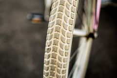 Ladies/women bicycle tyre close up. stock images