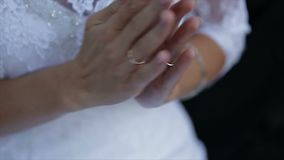 Close up view of woman applauding. Closeup incredibly beautiful bride clapping stock video footage