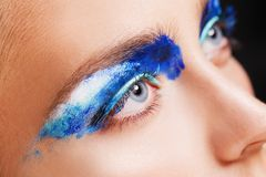 Close-up view of woman blue eye with beautiful Royalty Free Stock Photo