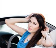 Close up view of woman in the car Stock Image