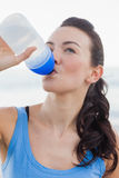 Close up view of woman drinking water after working out Royalty Free Stock Images