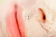 Close-up Clay Mask. Close-up view of a woman with a facial clay mask on Royalty Free Stock Photo