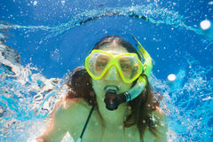 Close up view of woman swimming underwater Stock Images