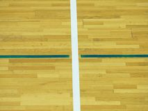 Wooden floor Basketball Court.  Sporting hall with strong lightning, sratches Stock Image
