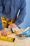 Close up view on the work of carpenter Stock Image