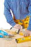 Close up view on the work of carpenter isolated Royalty Free Stock Photo