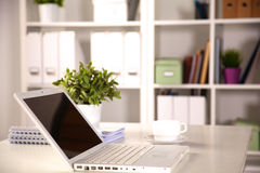 Close up view of a work desk interior with a Royalty Free Stock Photos