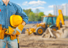 Close up view on worker with tools Stock Photo