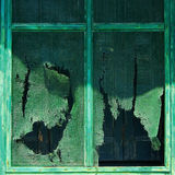 Worn Green Screen A1. Close-up view of a worn and torn green painted screen and window frame Royalty Free Stock Images