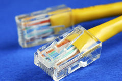 Close-up view of the yellow Ethernet (RJ45) cable Royalty Free Stock Image