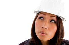 Close up view of young asian architect Stock Photo