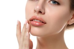 Close up view of young beautiful woman face Stock Image