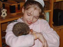 Close up view of a young girl holding a cute hedgehog and smiling. royalty free stock image