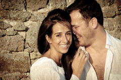 Close up view of young happy couple laughing together Stock Photography