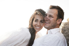 Close up view of young happy couple laughing together royalty free stock photos