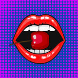 Close up view of young pretty woman lips portrait biting a cherry. Open month with white teeth eating a red cheery. Halftone dots background. Pop art comic royalty free illustration