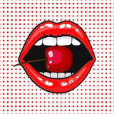 Close up view of young pretty woman lips portrait biting a cherry. Open month with white teeth eating a red cheery. halftone dots background. Pop art comic Royalty Free Stock Photo