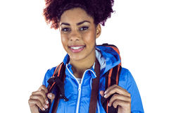 Close up view of a young woman with camera and backpack Stock Photo