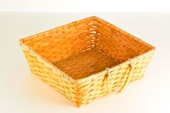Close-up of vimini bamboo wooden basket. Object on a White Background Stock Images