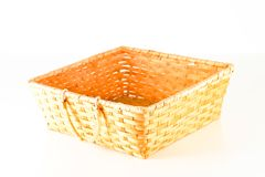 Close-up of vimini bamboo wooden basket. Object on a White Background Royalty Free Stock Photo