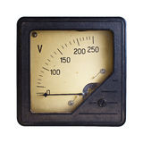 Voltmeter. Close-up of an vintage ancient voltmeter royalty free stock photography