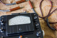 Close-up of an vintage ancient voltmeter Royalty Free Stock Photography